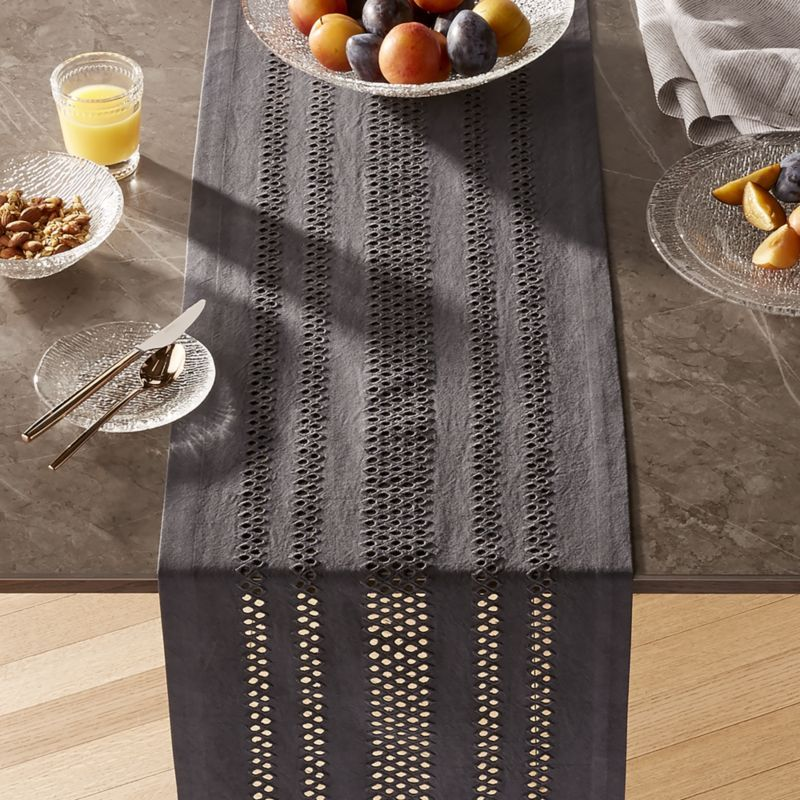 Jemme 120 Charcoal Grey Table Runner A Modern Take On Classic Eyelet Table Linens Our Dark Grey Jemme Table Runner Table Runners Grey Table Crate And Barrel