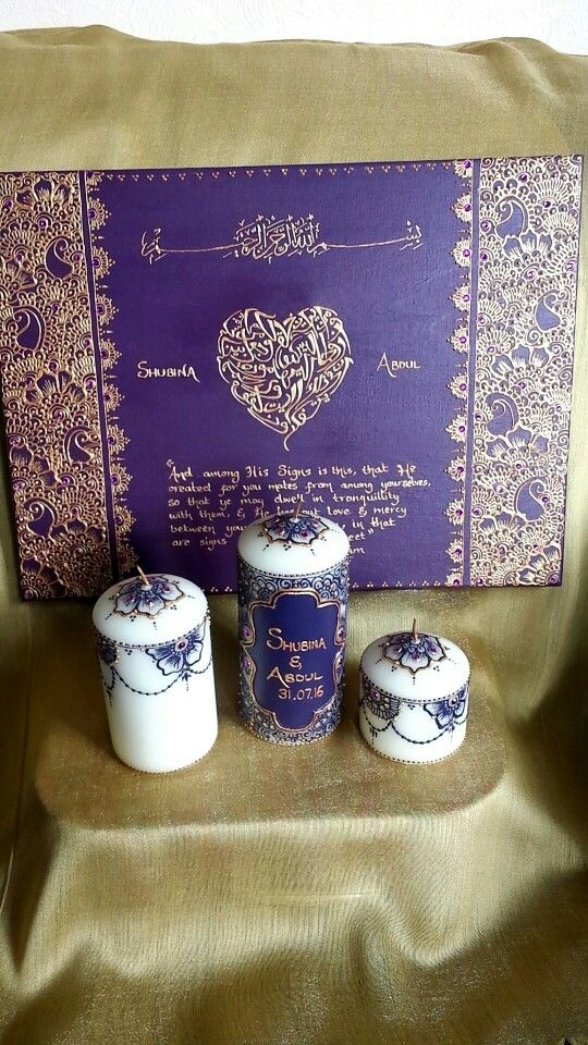 Purple And Gold Wedding Canvas And Candle Gift Set By Henna Bybella