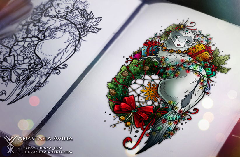 Christmas Ferret by quidames on DeviantArt