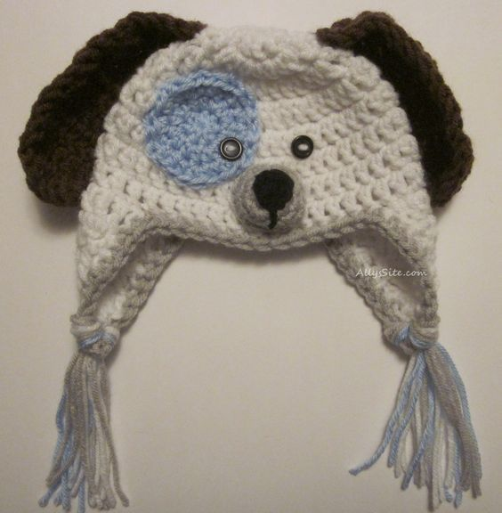 Free crochet pattern for baby sized animal dog hat. Great for photo ...