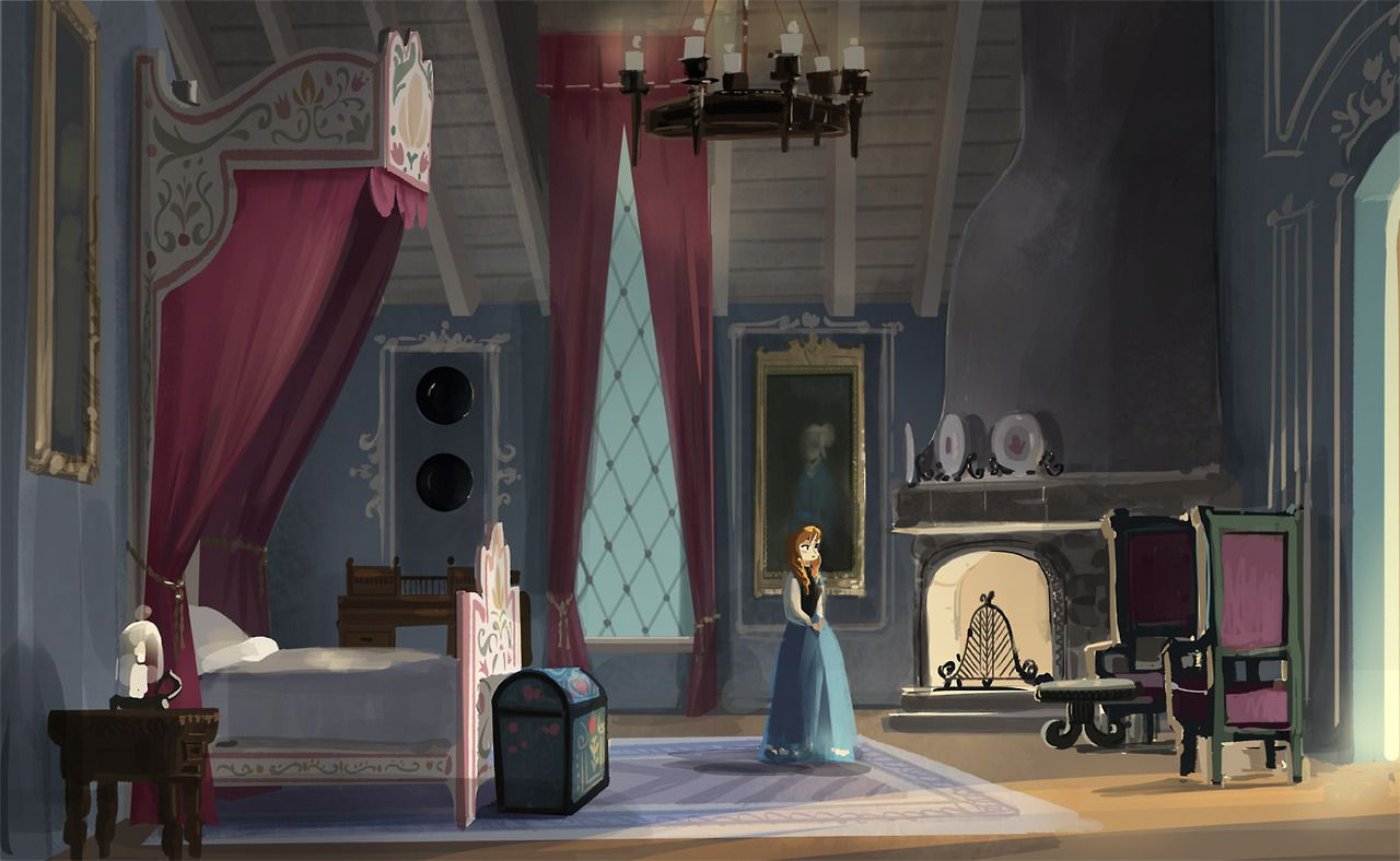Early concept for Anna s bedroom   Frozen. Early concept for Anna s bedroom   Frozen   Concept Art