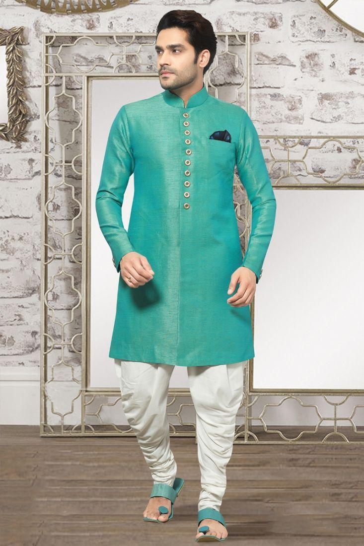 Dashing turquoise colour mens partywear indo western suit menus