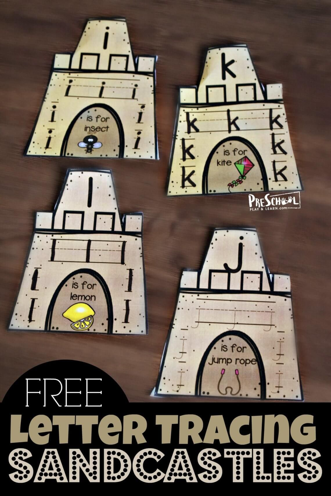 Free Letter Tracing Sandcastles