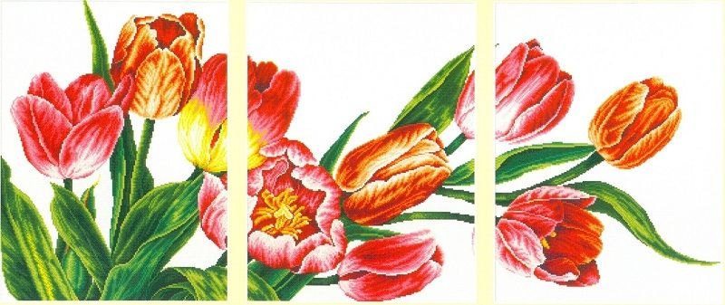 Схемы вышивки триптихи тюльпаны