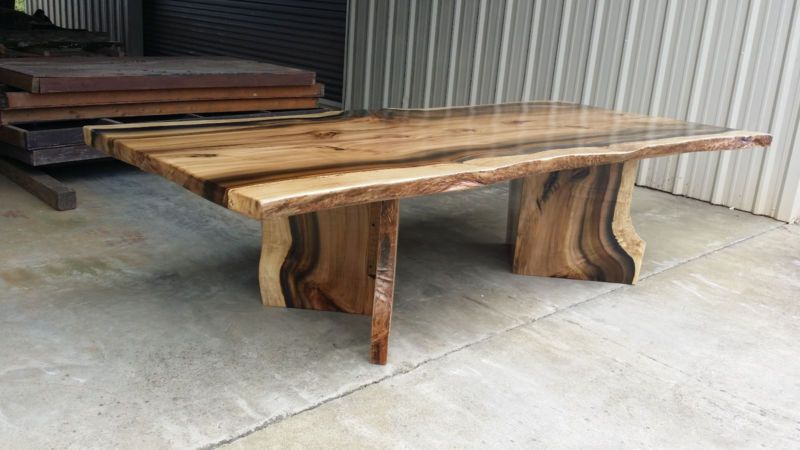 Rainbow Poplar Live Edge Slab Dining Table with matching V
