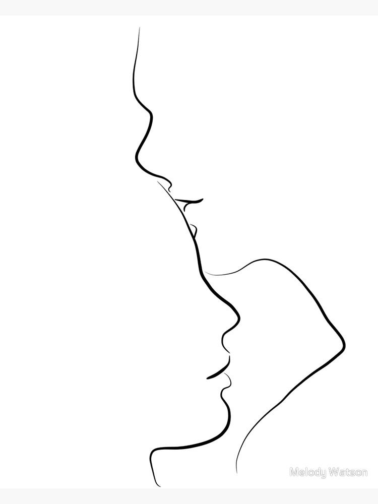 'Forehead Kiss Line Art Drawing in Black and White' Canvas Print by Melody Watson