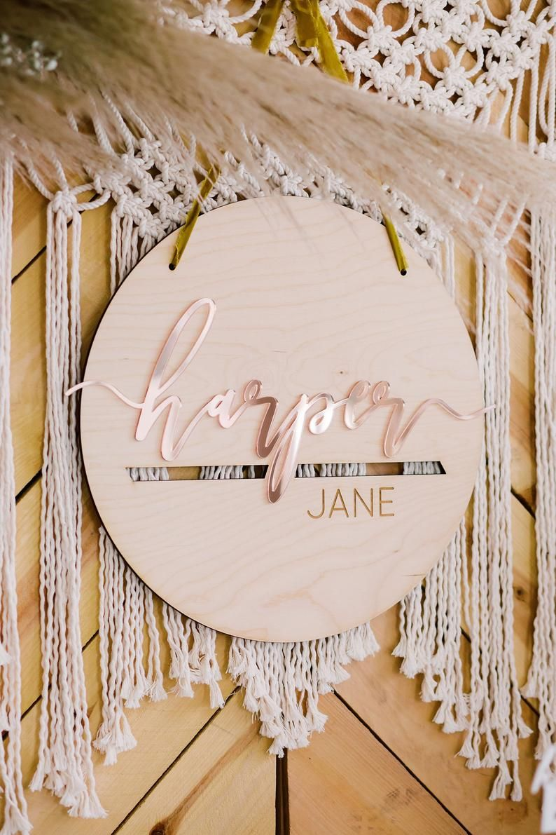 17 Personalized Round Nursery Name Sign Custom Wood Acrylic Baby Shower Sign Childrens Bedroom Sign Minimalist Boho Design Baby Shower Signs Custom Wood Boho Baby Shower