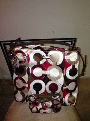 COACH Red Multi Madison Graphic OpArt Metallic Isabelle 21234 W/ small Wristlet