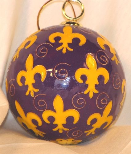 One of many beautiful handpainted cloisonne' ornaments - this one representing LSU, but many other colleges are represented here, plus sororities and miscellaneous motifs. All gorgeous!