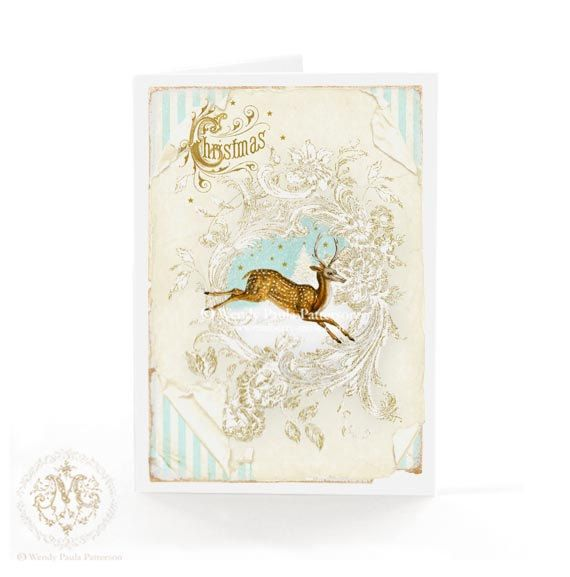 Christmas card, deer, reindeer, snow, winter woodland, white Christmas, vintage, holiday card, blue, gold, creamy white