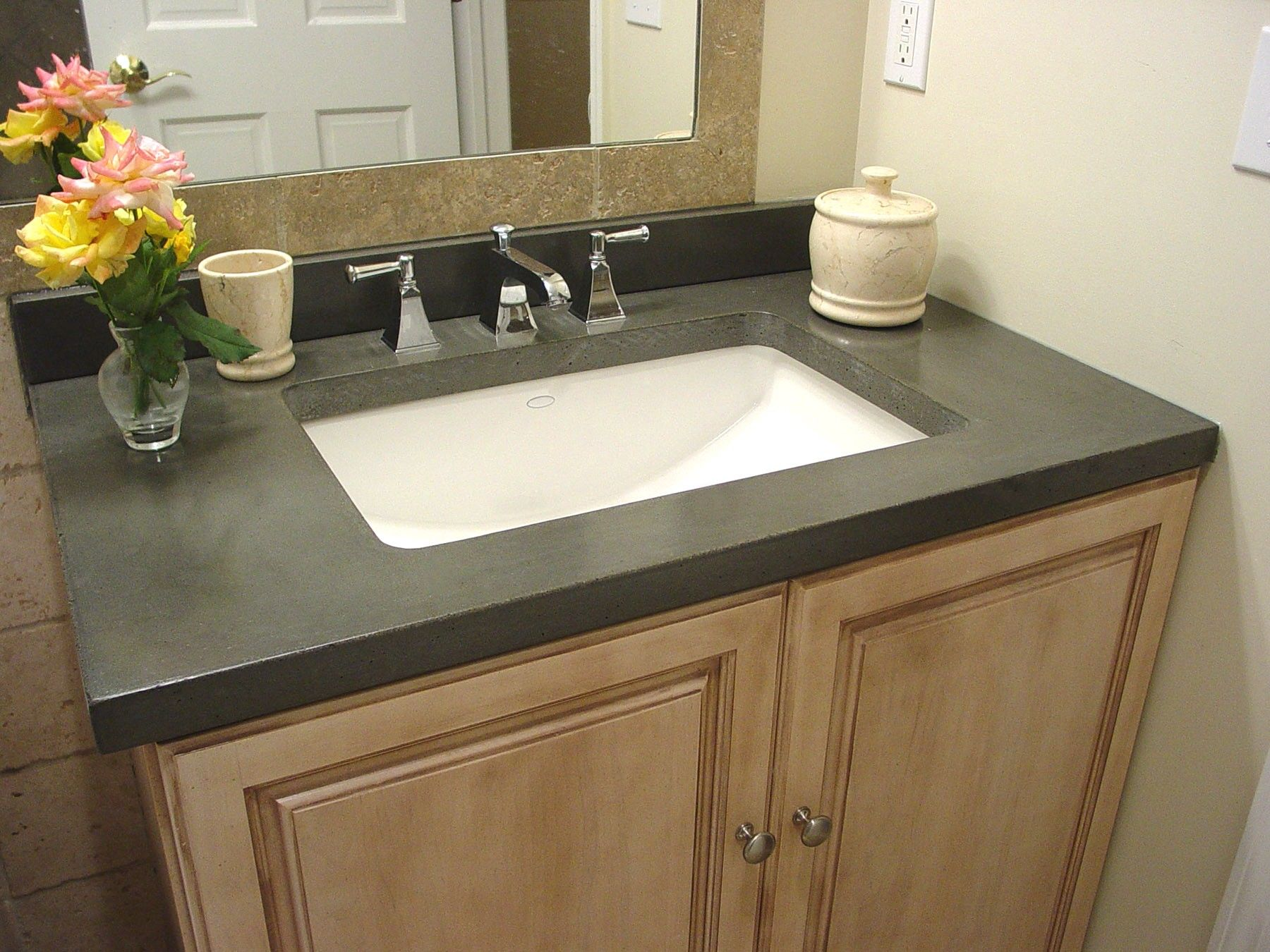 Dark Gray Plain Granite Flat Eased Countertop On Ivory Polished Oak Wood Bathroom Home Depot Bathroom Vanity Concrete Countertops Bathroom Small Bathroom Decor
