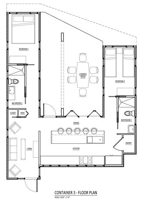 Floor plan for a home using three shipping containers in a U