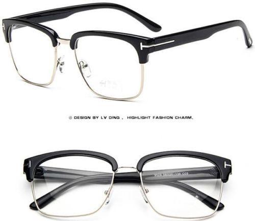 T-mujeres-hombres-Vintage-Gafas-medio-marco-Gafas-Gafas-Fashion ...