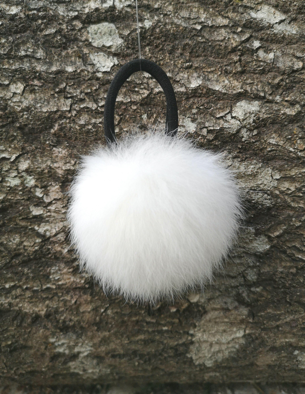 Hair ties Fur Pom pom Fluffy ponytail holder White Hair pin Hair Bow Real rabbit Christmas Gift for Girl headpiece