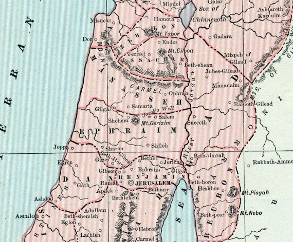 Antique Map Of Ancient Palestine Showing The Location Of The - Palestine location