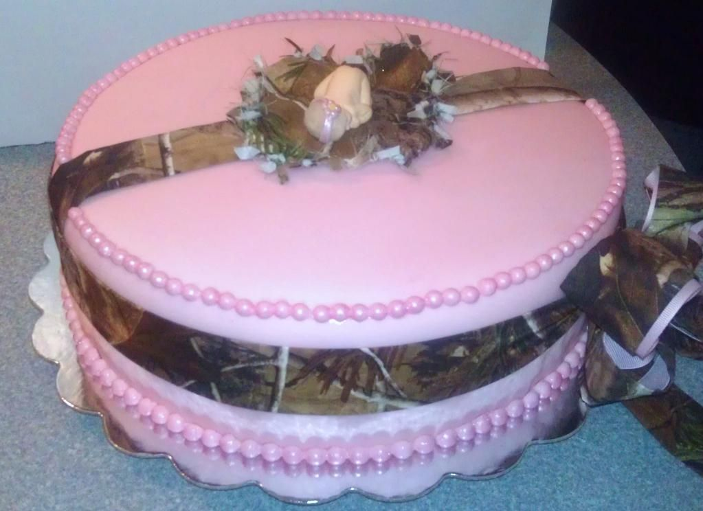 pink camo baby shower cake
