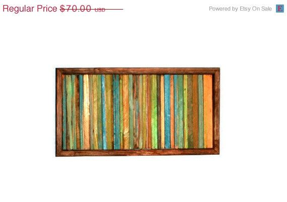 Abstract Painting on Wood Reclaimed Wood Sculpture Modern Wall Art, $52.5