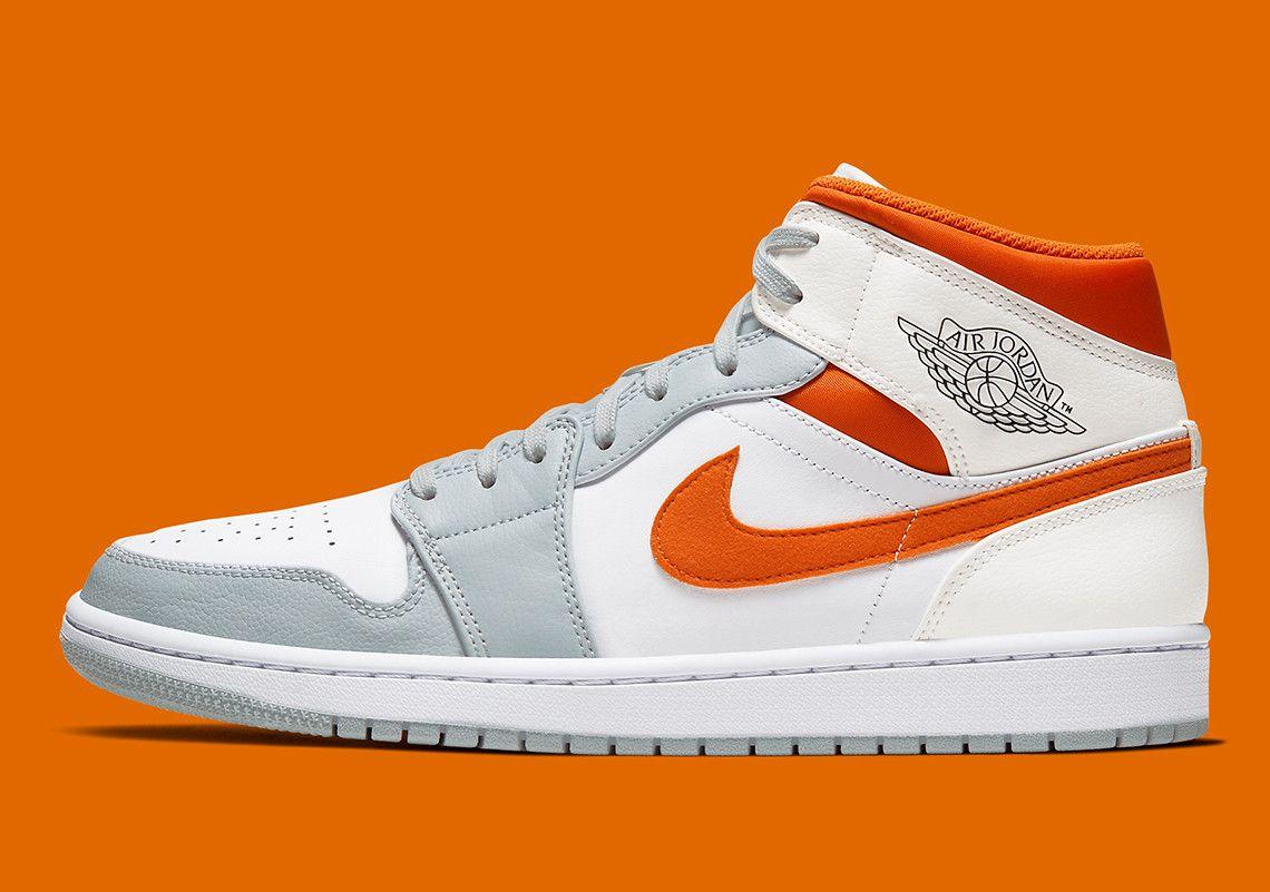 The Air Jordan 1 Mid Surfaces In Starfish Orange And Pure Platinum Air Jordans Jordan 1 Mid Jordans