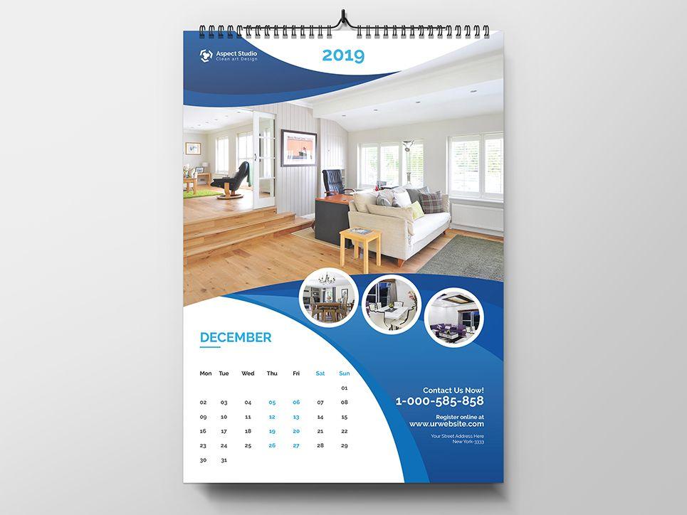 1 Page Wall Calendar 2020 Wall Calendar Design Calendar Design