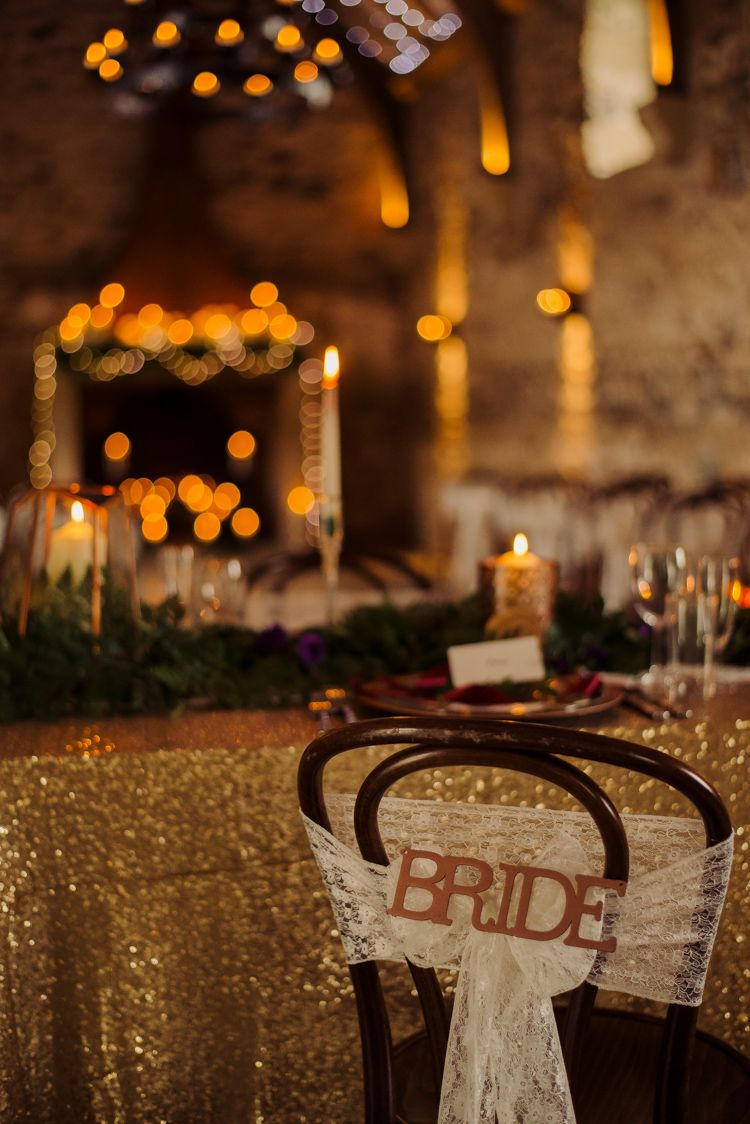 Bride Lace Chair Cover Cosy Candlelit Woodland Barn Wedding Ideas