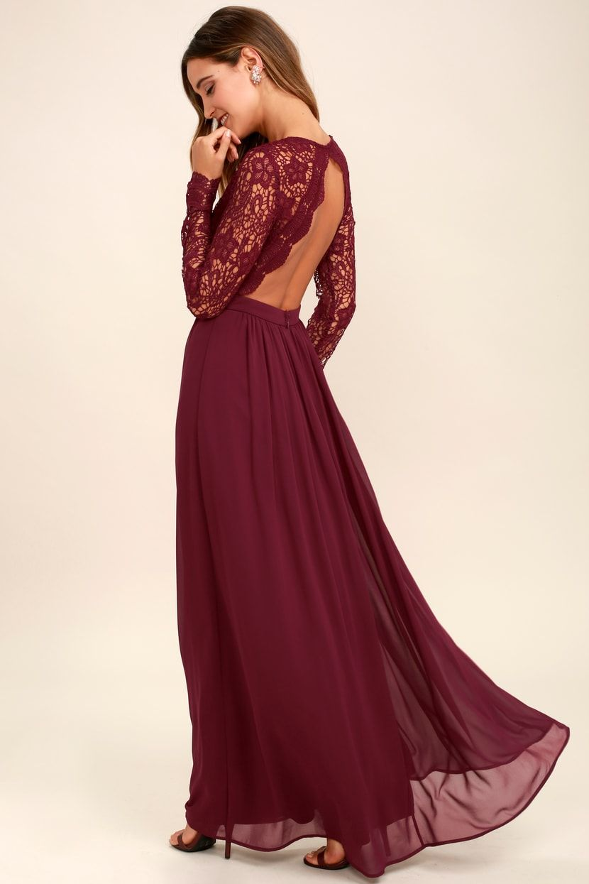 Awaken My Love Burgundy Long Sleeve Lace Maxi Dress Long Sleeve Bridesmaid Dress Long Sleeve Lace Maxi Dress Long Bridesmaid Dresses [ 1245 x 830 Pixel ]