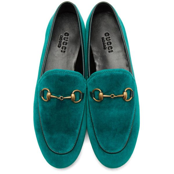 9655fb4638e Gucci Blue Velvet Jordaan Loafers ( 650) ❤ liked on Polyvore featuring shoes