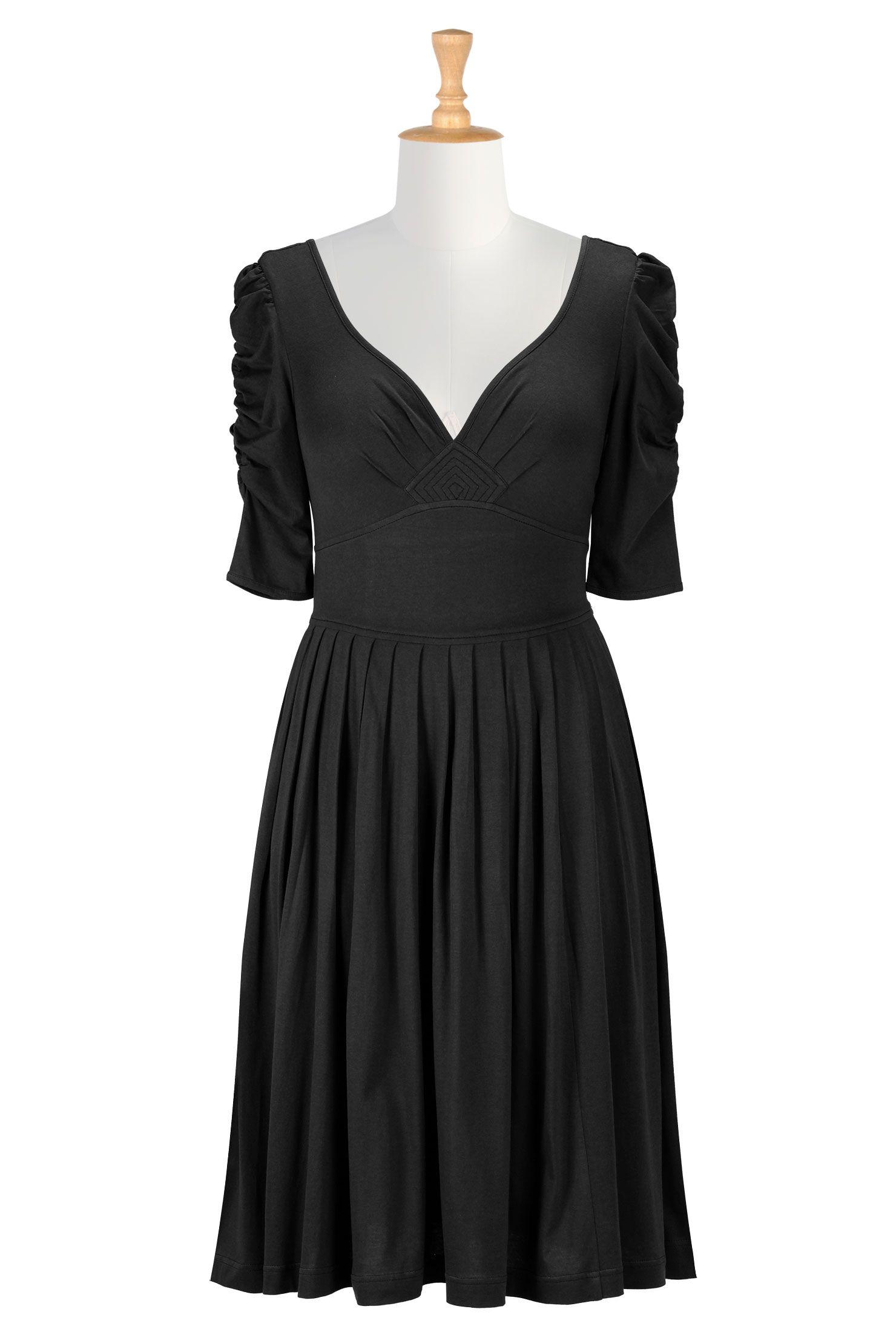 Below knee length dresses black dresses cotton dresses elbow