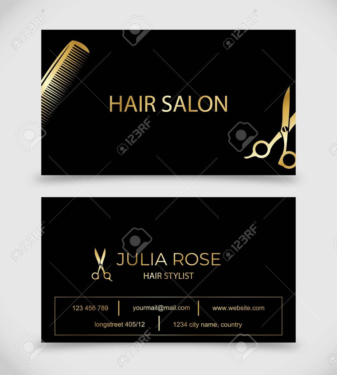 Hair Salon Hair Stylist Business Card Vector Template Within Hair Salon Busines Hairstylist Business Cards Business Cards Vector Templates Hair Salon Business
