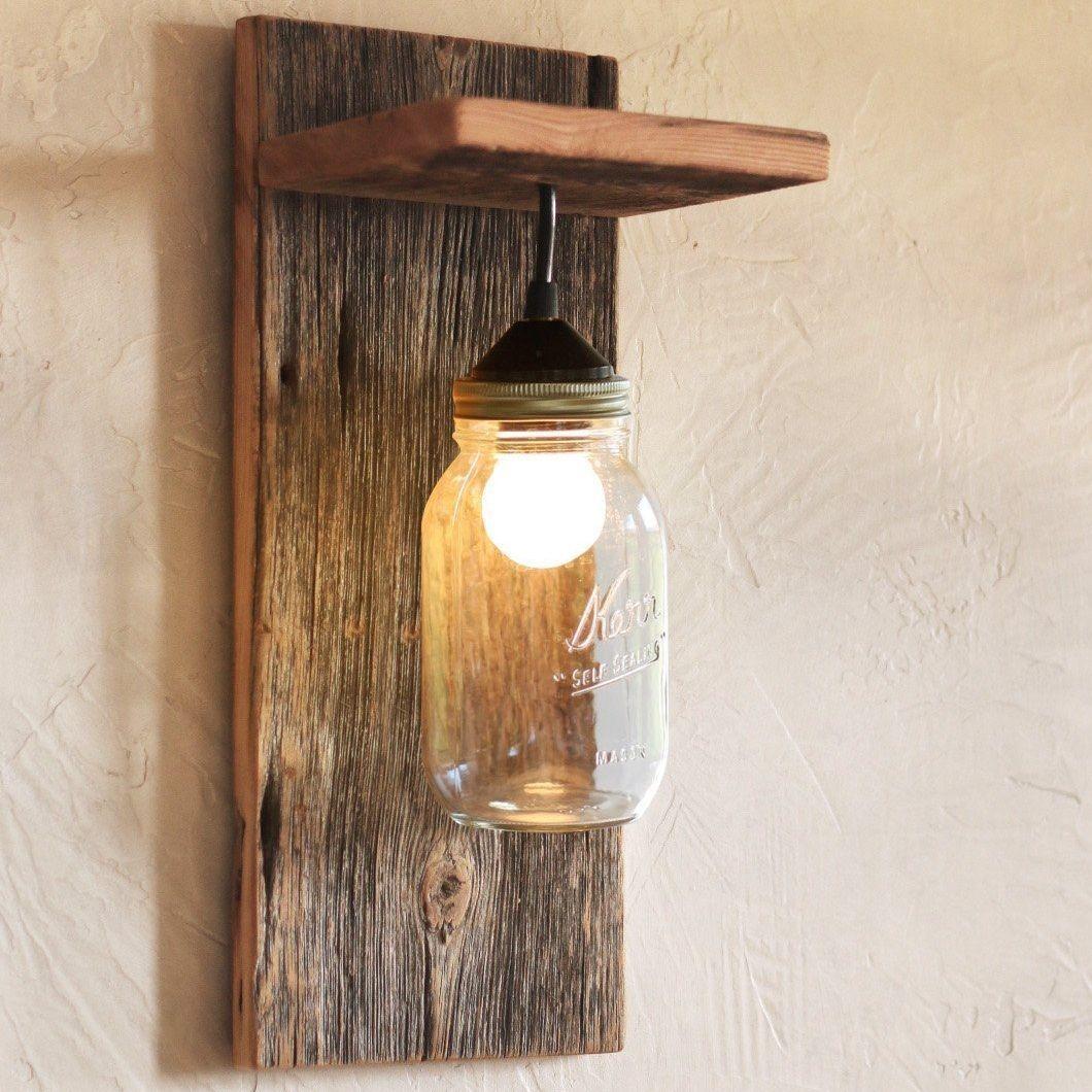 Handmade Barn Wood Mason Jar Wall Light Fixture Mason Jar