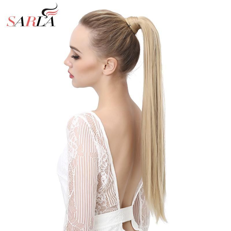 Sarla Long Straight 24 28 Synthetic Wrap Around Ponytail Hair