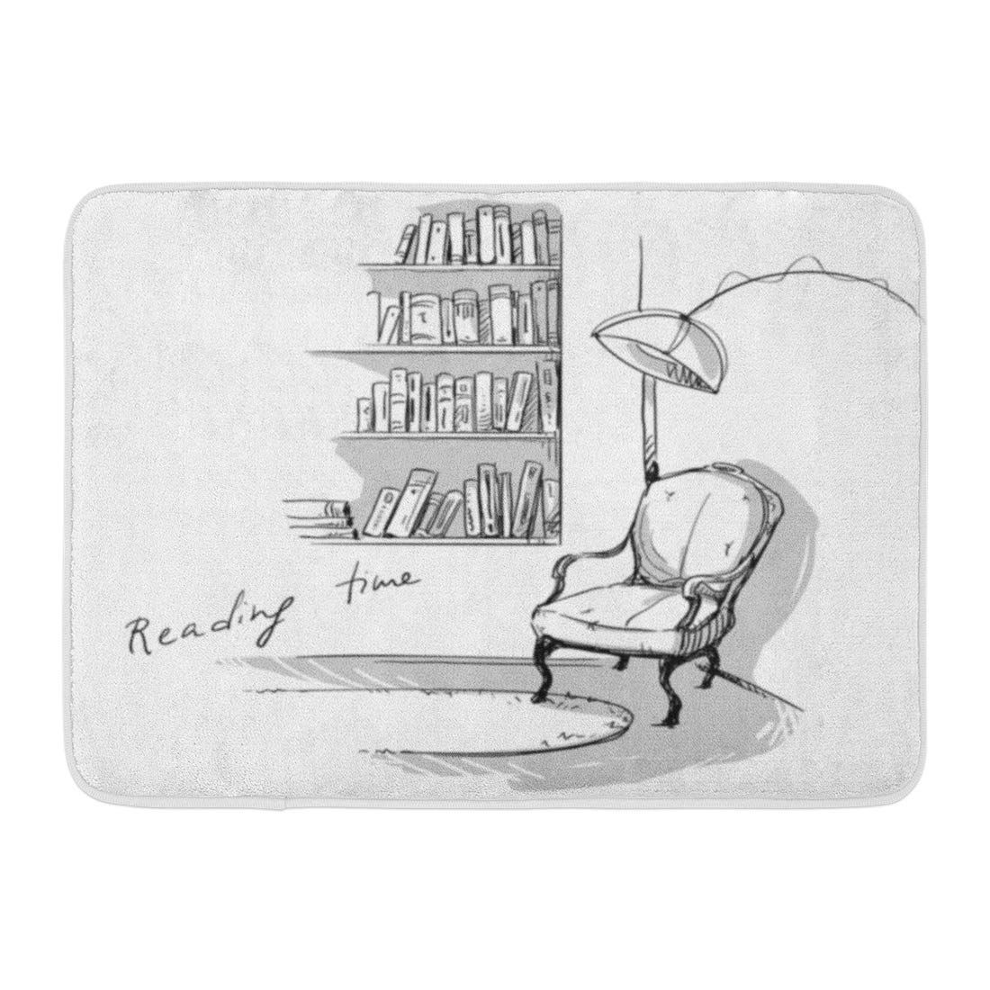 Furniture Black Sketch Reading Time Quiet Cozy Corner At Bookshelves And Chair White Bookshelf Doodle Rug Doormat Bath Mat 23 6x15 7 Inch In 2020 White Bookshelves Cozy Corner Bookshelves