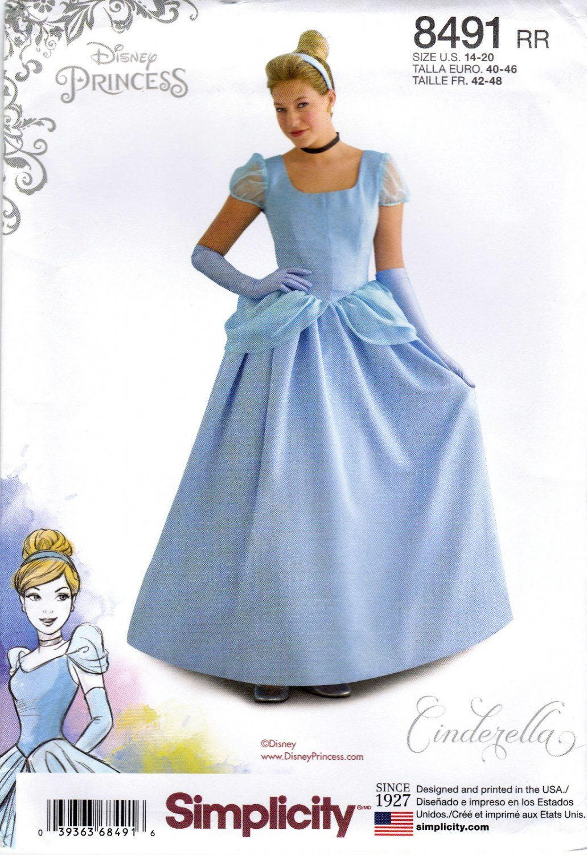 Simplicity 8491 Misses Womens Sewing Pattern Disney Princess Cinderella Costume Sizes 14 20 Women S Sewing Pattern Cinderella Costume Costume Sewing Patterns