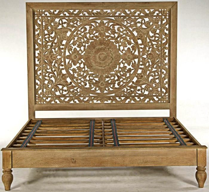 Best Moroccan Mandala Carved Genuine Mango Wood King Boho Bed 400 x 300