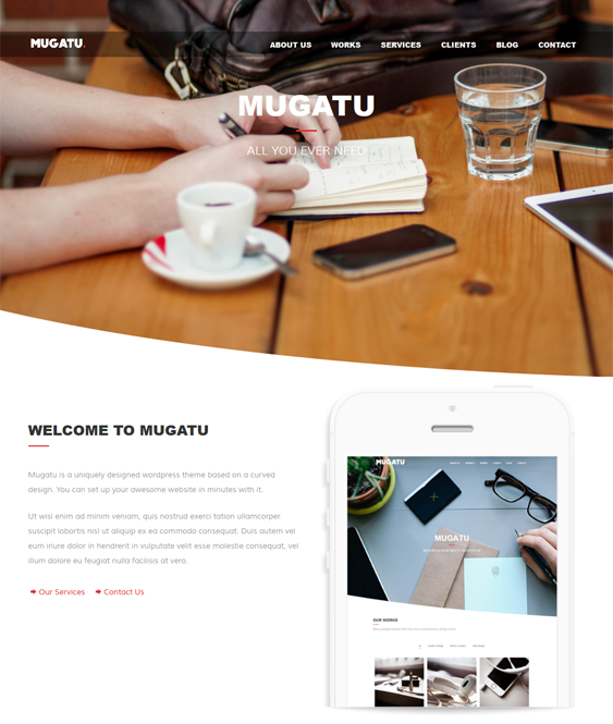 This one page WordPress theme features a responsive layout