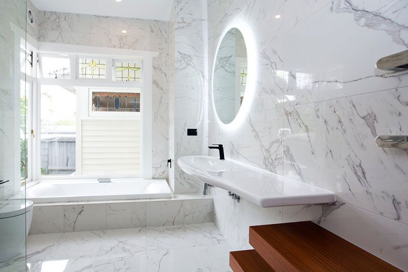 Calcutta Marble Look Bathroom By Chichester Design