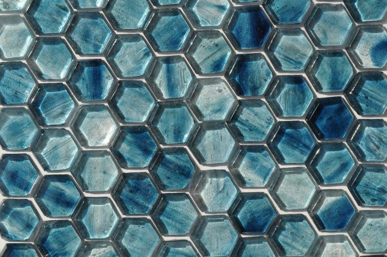 Fusion Glass Sky Blue Hex Pattern 09f In 2020 Blue Glass Tile