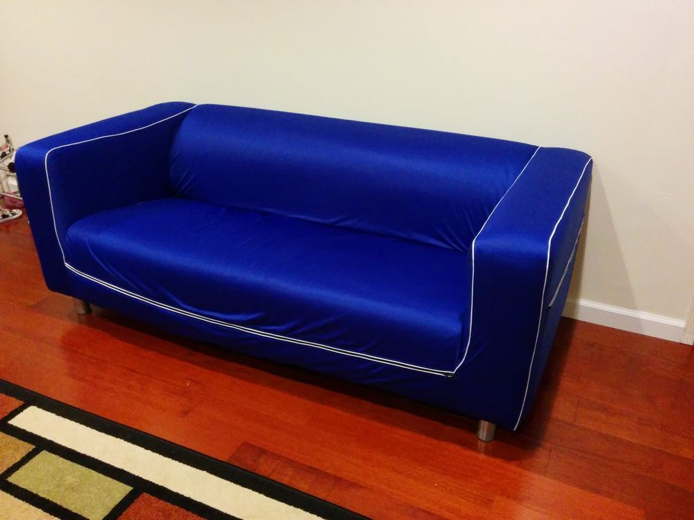 Ikea Klippan Loveseat Slipcover Stolpen Blue Sofa Cover Jersey Rare Limited Edi