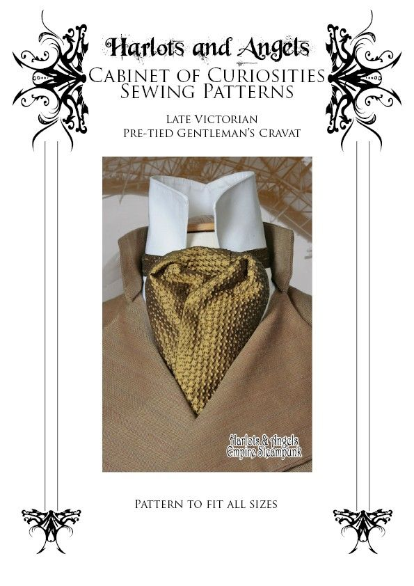 Cravat Neck Tie Sewing Pattern, Sherlock Holmes, Cosplay sewing, Wedding, Gothic Late Victorian Style, Easy Sewing Pattern