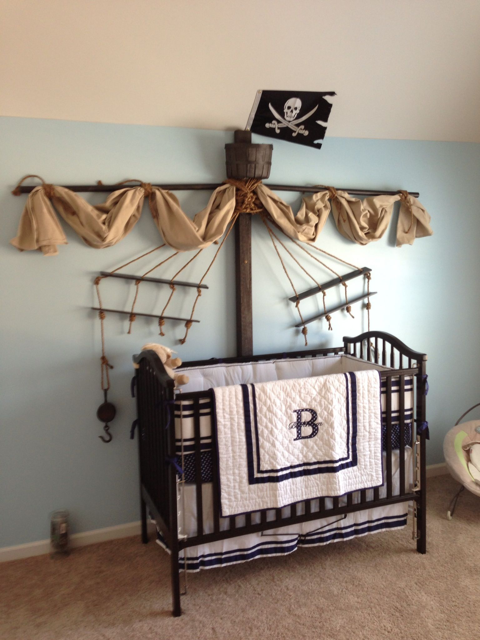 Our sonu0027s Classy nautical pirate themed nursery! Completely made by my husband and me! & Pinterest Fab 4: Nursery Decor Ideas | Themed nursery Nursery and ...