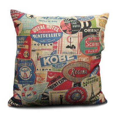 Ojia Vintage 18 X 18 Inch Cotton Linen Decorative Throw Pillow Cover Cushion Case, Postmark