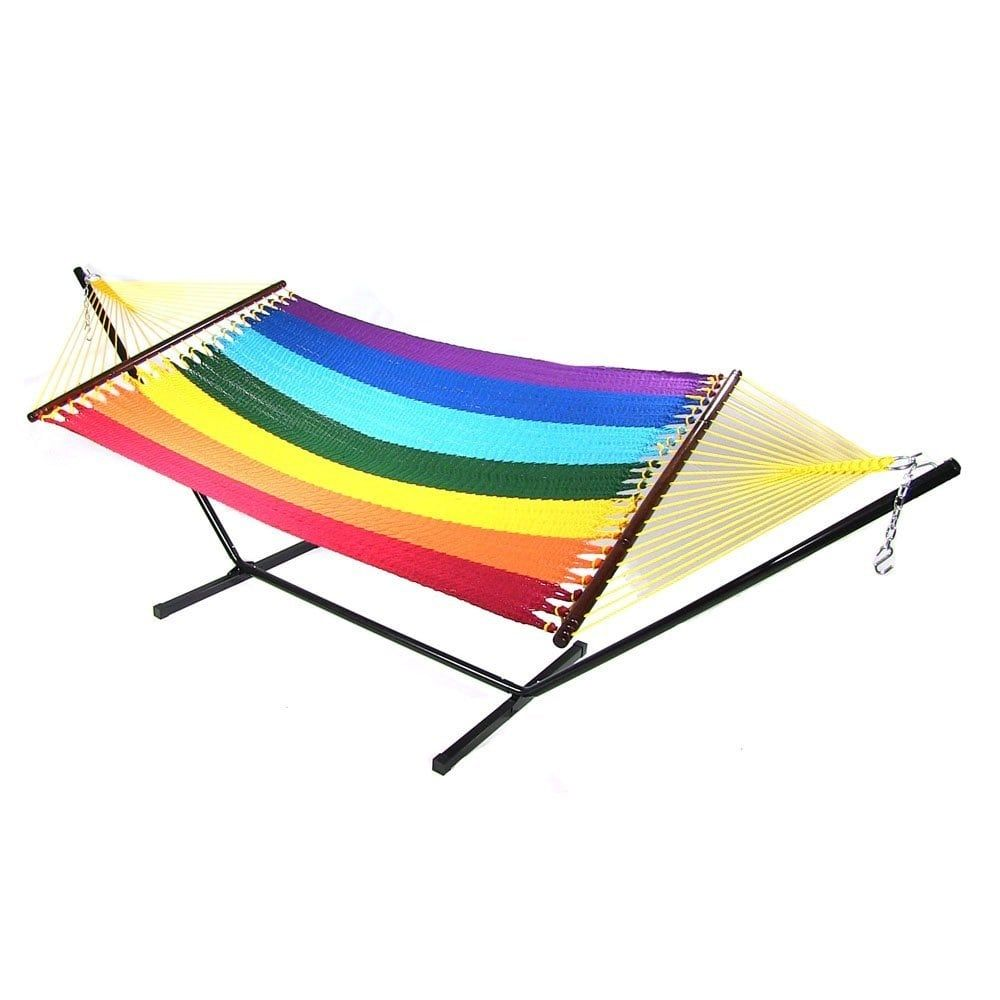 Medium image of sunnydaze large 2 person rope hammock with spreader bar  u0026 hammock stand  multi