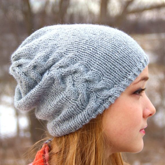 Downloadable Hat Pattern Slouchy Beanie Knitting Pattern Patterns