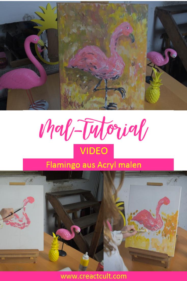 Acrylbilder Selber Malen Tiere Wie Einen Flamingo In Einer Schritt