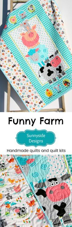 Farm Animals Quilt, Funny Farm Baby Blanket, Handmade in the USA, Cow Pig Sheep Horse Rooster, Boy or Girl Gender Neutral, Baby Quilt Kit, Beginner Sewing Project, Quick Quilt Kit, Shower Gift by Sunnyside Designs