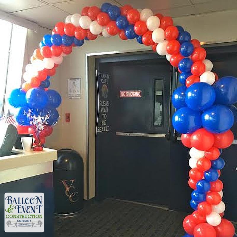 Cruise Ship Balloons   blue balloon arch, american flag balloons ...