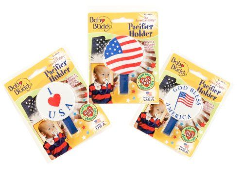 Baby Buddy American Baby Pacifier Holder, US Flag, I Love USA, God Bless America Never a dropped or lost pacifier, Attach to baby's clothing, car seat or stroller, Hand made in the USA, Available in multiple colors.