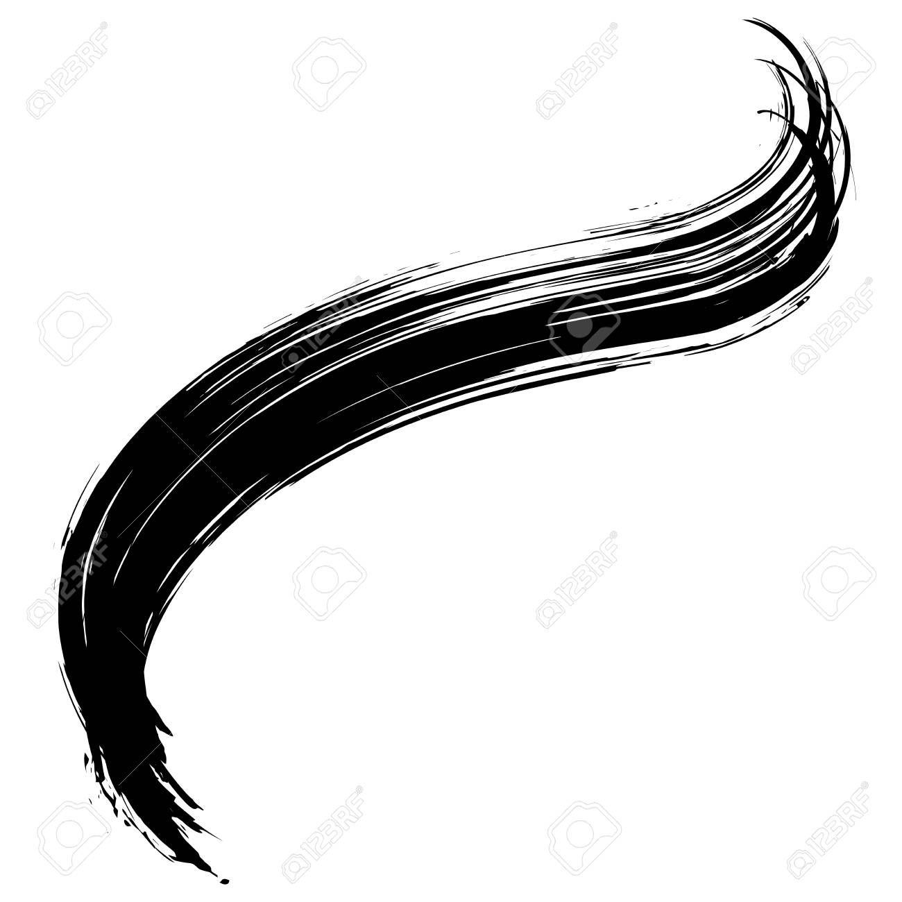 Grunge Hand Drawn Black Paint Brush Curved Brush Stroke Vector Brush Tattoo Brush Strokes Brush Stroke Vector