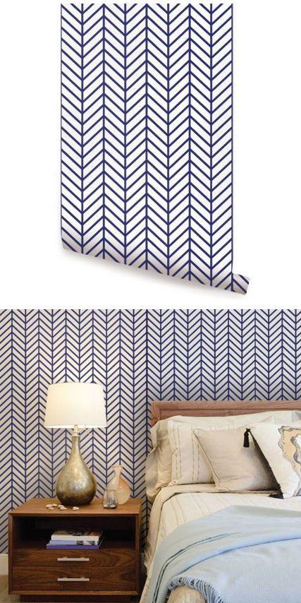 Herringbone Line Navy Peel And Stick Wallpaper Wallpaper Walls Bedroom Striped Walls Bedroom Peel And Stick Wallpaper