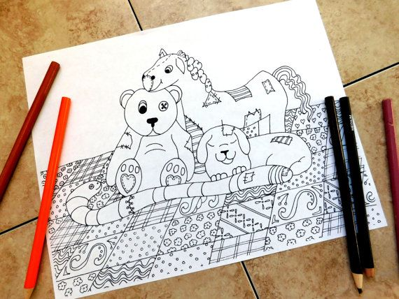 Stuffed animals, coloring pages, adult coloring page, teddy ...