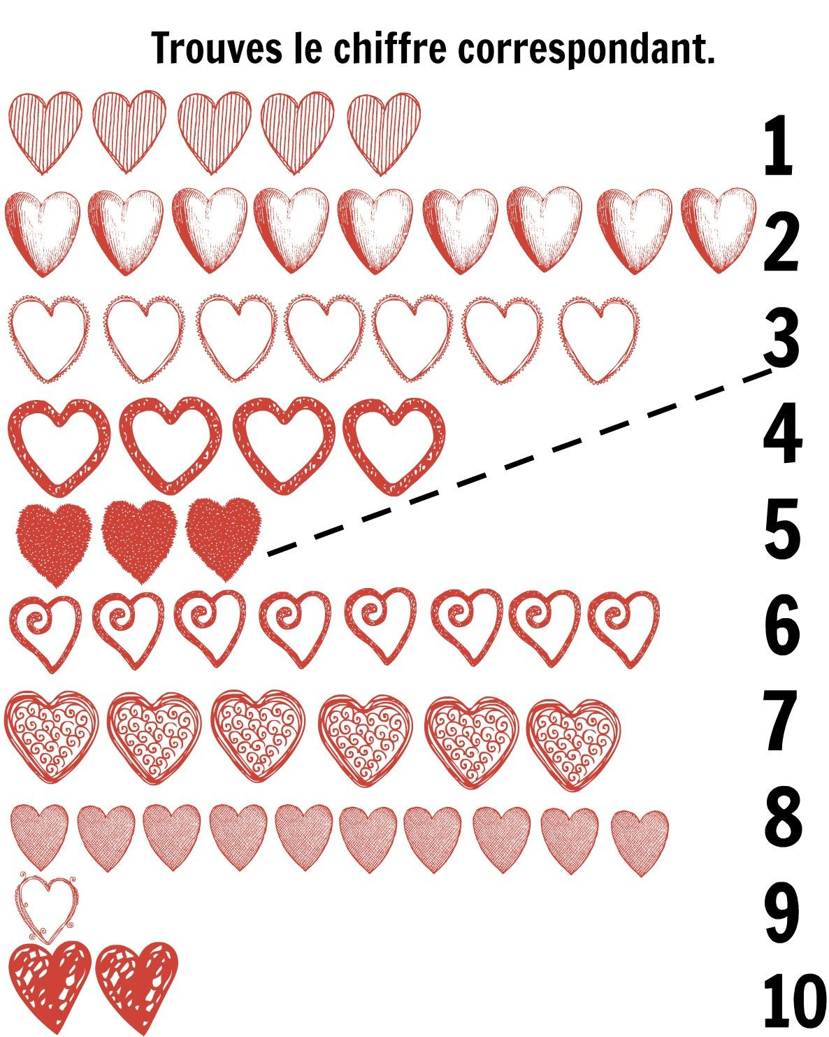 French Hearts Matching Printables With Images